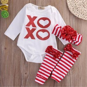 4 Piece red and white XOXO outfit